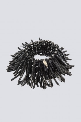 Bracciale nero in vetro e cristalli - Sharra Pagano - Noleggio Drexcode - 1