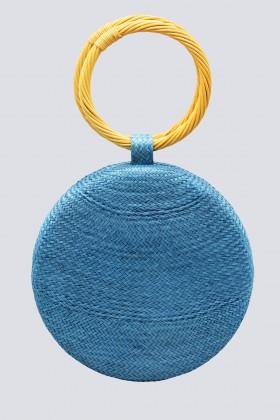 Clutch azzurra con manico in vimini - Serpui - Vendita Drexcode - 1