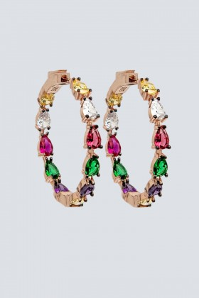 Orecchini a cerchio con pietra multicolore - Nickho Rey - Vendita Drexcode - 1