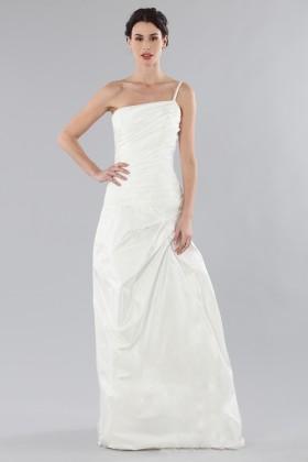 Abito da sposa monospalla con rouches - DREXCODE Sposa - Noleggio Drexcode - 1