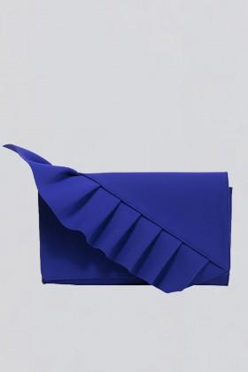 Clutch blu con volant - Chiara Boni - La Petite Robe - Noleggio Drexcode - 1