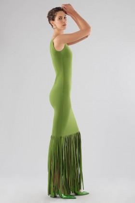 Abito verde monospalla con frange - Chiara Boni - Noleggio Drexcode - 2