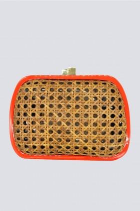 Clutch in vimini con bordo arancione - Serpui - Noleggio Drexcode - 1