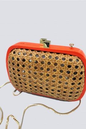Clutch in vimini con bordo arancione - Serpui - Noleggio Drexcode - 2