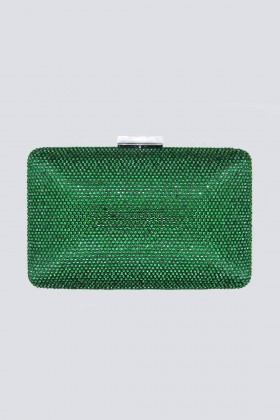 Clutch piatta verde con strass - Anna Cecere - Noleggio Drexcode - 1