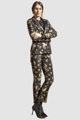 Completo giacca e pantalone con motivo fenice - Giuliette Brown - Noleggio Drexcode - 1