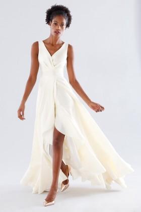 Abito bianco in taffeta con rouches - Daphne - Noleggio Drexcode - 1