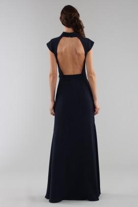 Abito blu con collo alto e scollatura posterioreML - Monique Lhuillier