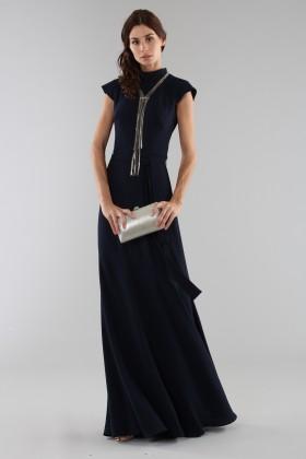 Abito blu con collo alto e scollatura posteriore - ML - Monique Lhuillier - Noleggio Drexcode - 1