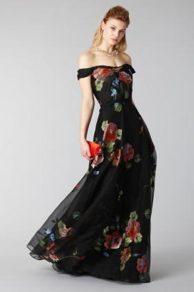 Abito lungo nero con motivo floreale off shoulder - Marchesa Notte - Noleggio Drexcode - 1