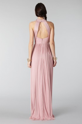 Abito rosa in seta con spacco e trasparenze - Cristallini - Noleggio Drexcode - 2