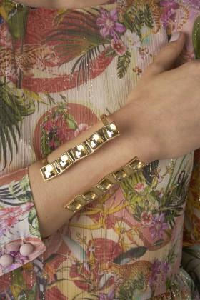 Bracciale maxi cuff con pietre chiare  - Natama - Noleggio Drexcode - 2