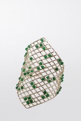Bracciale rigido con quarzi verdi incastonatiRosantica