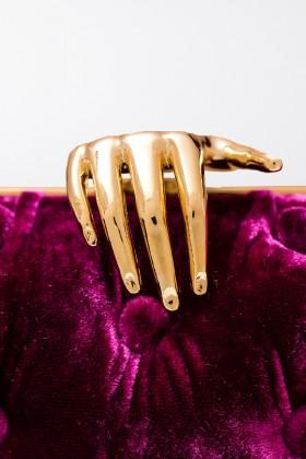 Clutch in velluto viola con chiusura mano - Benedetta Bruzziches  - Noleggio Drexcode - 2