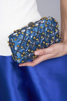 Clutch azzurra in seta con cristalli e catene - Rodo - Vendita Drexcode - 2