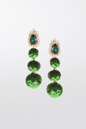 Orecchini in paillettes verdi - Shourouk - Noleggio Drexcode - 1