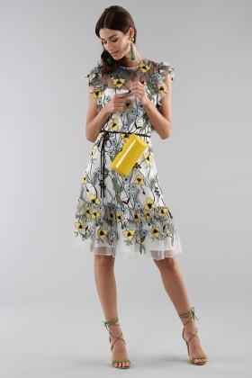 Abito corto fantasia floreale con rouches - ML - Monique Lhuillier - Noleggio Drexcode - 1