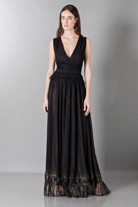 Vestito nero lungo con scollo a V - Alberta Ferretti - Noleggio Drexcode - 1