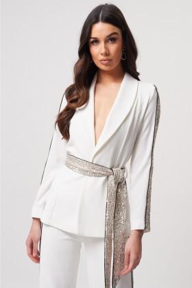Tailleur bianco con inserti in paillettes - Forever unique - Noleggio Drexcode - 2