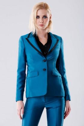 Completo giacca e pantalone turchesi in satin - Giuliette Brown - Vendita Drexcode - 2