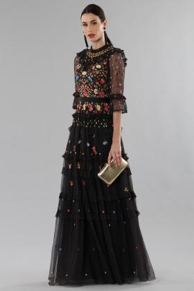 Abito lungo nero in tulle con decori floreali - Needle&Thread - Noleggio Drexcode - 2