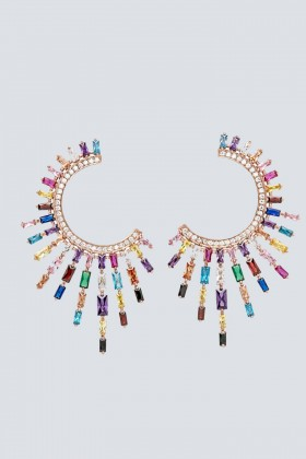Orecchini pendenti a luna con pietre multicolore - Nickho Rey - Vendita Drexcode - 1