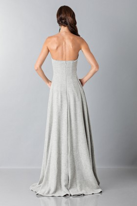 Bustier grigio in lana con applique a tema florealeAlberta Ferretti