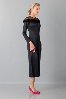 Jumpsuit nera longuette con pizzo off shoulder - Blumarine - Vendita Drexcode - 2