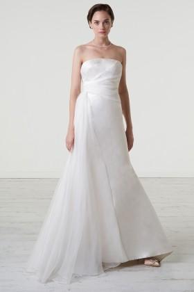 Abito da sposa con drappeggio asimmetrico in mikado - Peter Langner - Noleggio Drexcode - 2