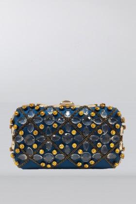 Clutch azzurra in seta con cristalli e catene - Rodo - Noleggio Drexcode - 1