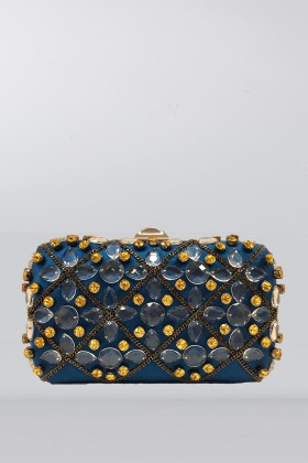 Clutch azzurra in seta con cristalli e catene - Rodo - Vendita Drexcode - 1