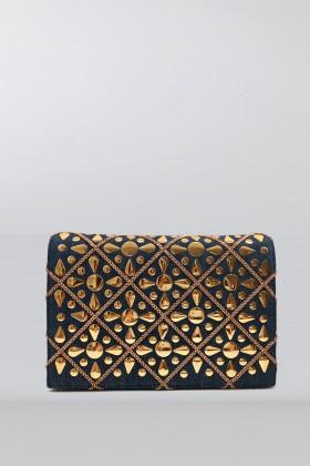 Pochette in tessuto jeans con decori dorati - Rodo - Noleggio Drexcode - 1