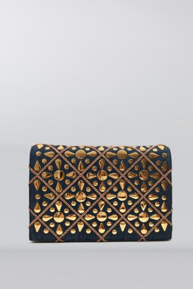 Pochette in tessuto jeans con decori doratiRodo
