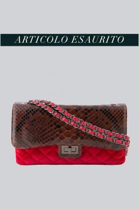 Borsa in velluto rosso e pelle stampata - AM - Vendita Drexcode - 1