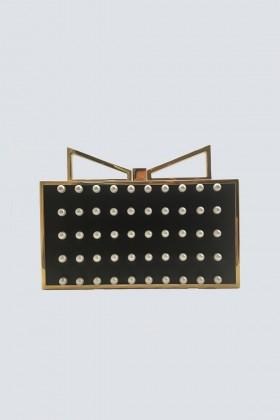 Clutch nera con perle - Sara Battaglia - Vendita Drexcode - 1