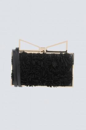 Clutch nera con pompon in stoffa - Sara Battaglia - Vendita Drexcode - 1