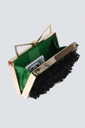 Clutch nera con pompon in stoffa - Sara Battaglia - Vendita Drexcode - 2