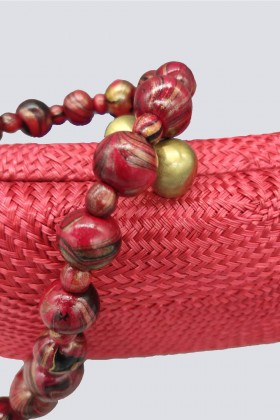Clutch rossa in paglia - Serpui - Noleggio Drexcode - 2