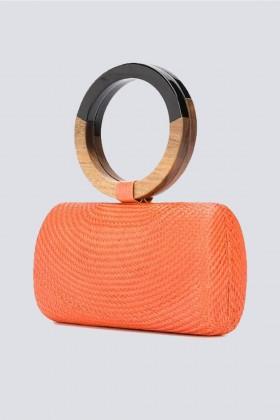 Clutch arancione con manico bicromatico - Serpui - Noleggio Drexcode - 1