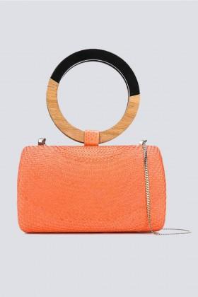 Clutch arancione con manico bicromatico - Serpui - Noleggio Drexcode - 2