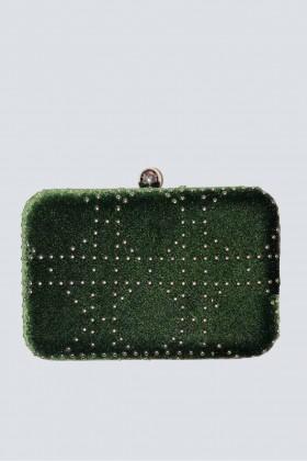 Clutch verde con borchie - Anna Cecere - Noleggio Drexcode - 1
