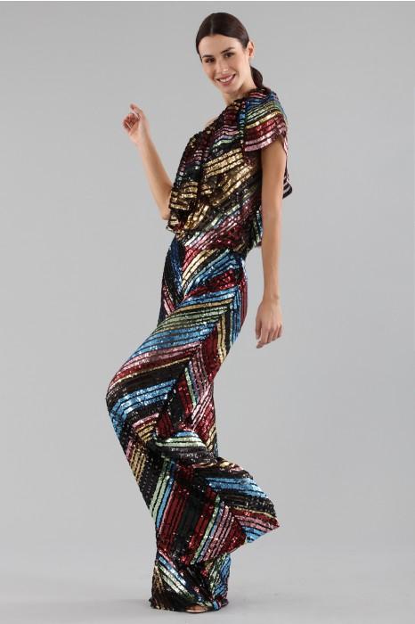 nuovo prodotto be52c 743ef Completo pantalone e top in paillettes
