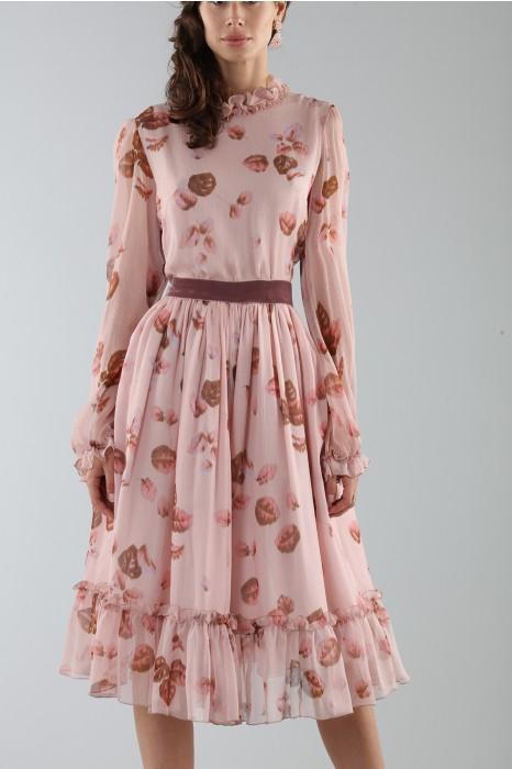 reputable site 2b2ce 7155b Abito rosa con fantasia floreale e rouches