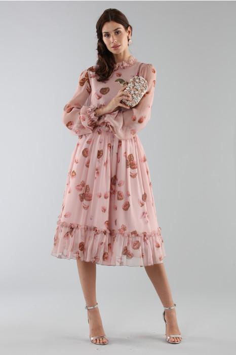 Vestiti Cerimonia Fantasia.Noleggia Un Abito Luisa Beccaria Abito Rosa Con Fantasia