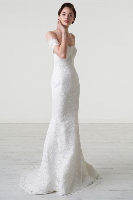 huge discount c32a0 8c85d Abito da sposa a sirena in pizzo macrame off shoulder