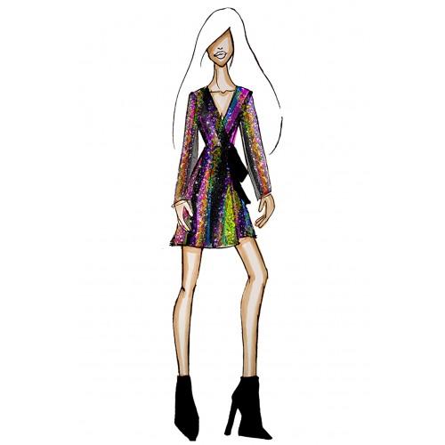 Vendita Abbigliamento Usato FIrmato - Wrap dress con paillettes mullticolori - Drexcode - Drexcode -2
