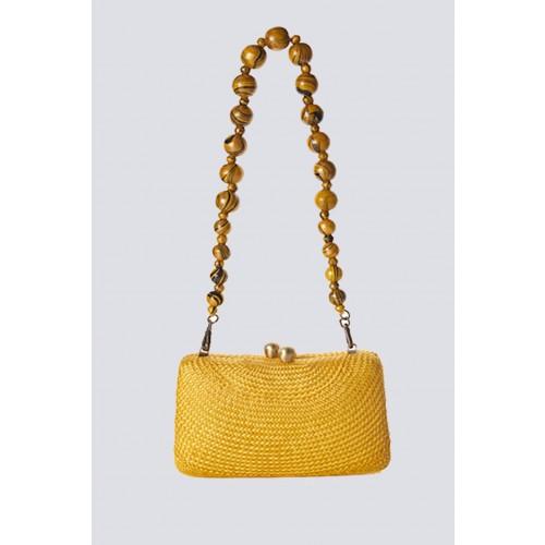 Vendita Abbigliamento Usato FIrmato - Clutch gialla in paglia - Serpui - Drexcode -1