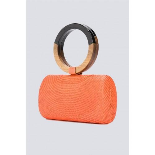 Vendita Abbigliamento Usato FIrmato - Clutch arancione con manico bicromatico - Serpui - Drexcode -1