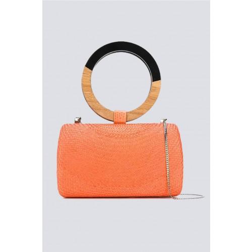 Vendita Abbigliamento Usato FIrmato - Clutch arancione con manico bicromatico - Serpui - Drexcode -2
