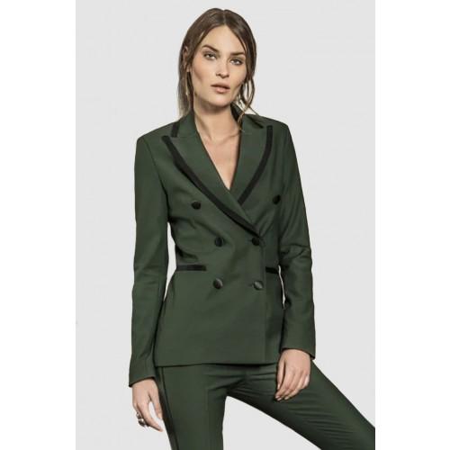 Vendita Abbigliamento Usato FIrmato - Giacca verde doppiopetto in lana - Giuliette Brown - Drexcode -1